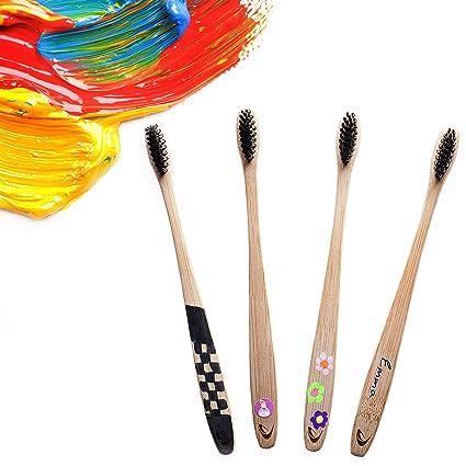 Cepillo de dientes de bambú con cerdas de carbón de TEVRA - Cuidado dental natural para toda la familia   Biodegradable   Cerdas medianas   Libre de ...