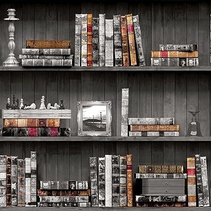 Holden Bookcases Wallpaper Black 11951 Amazon Com