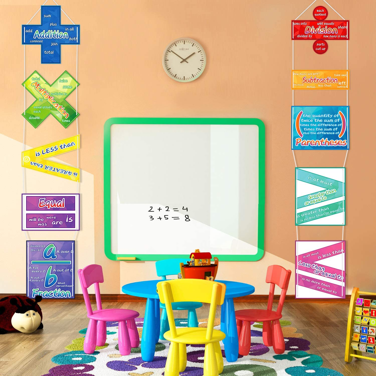 10 Pieces Math Poster Educational Learning Poster for Classroom Preschool Primary School Students Kids
