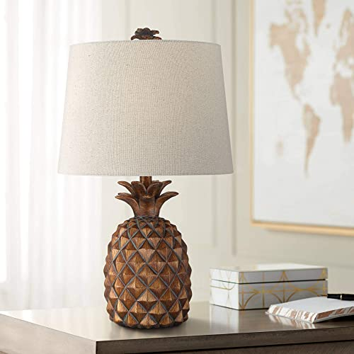 Paget Tropical Accent Table Lamp Pineapple Brown Oatmeal Fabric Tapered Drum Shade Living Room Bedroom Bedside Nightstand Office Family – Regency Hill