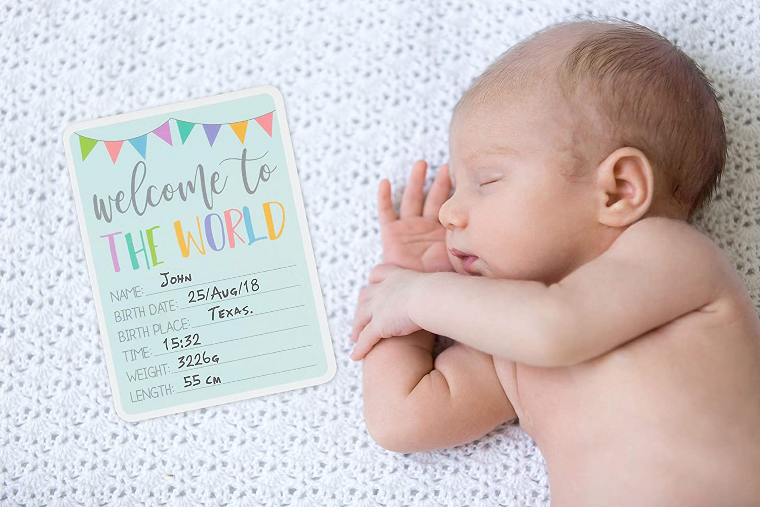 Juvale 36-Count Baby Milestone Cards in Keepsake Gift Box – Photo Props for Newborn s First Year in Weeks, Months, Moments and Holidays, Baby Photo Cards