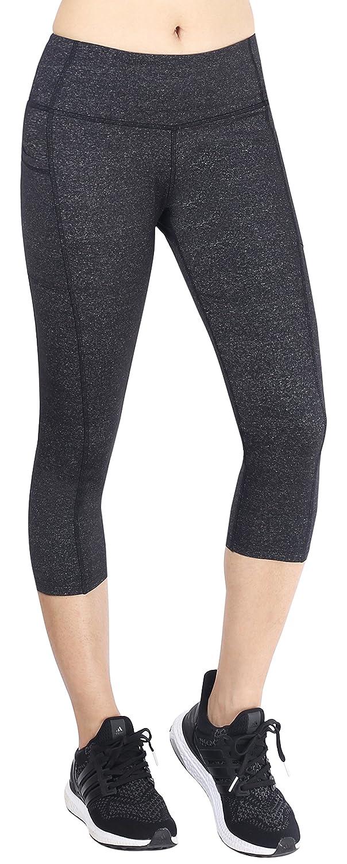 Neonysweets Womens Ladies Capri Workout Leggings with Pockets Running Yoga Pants