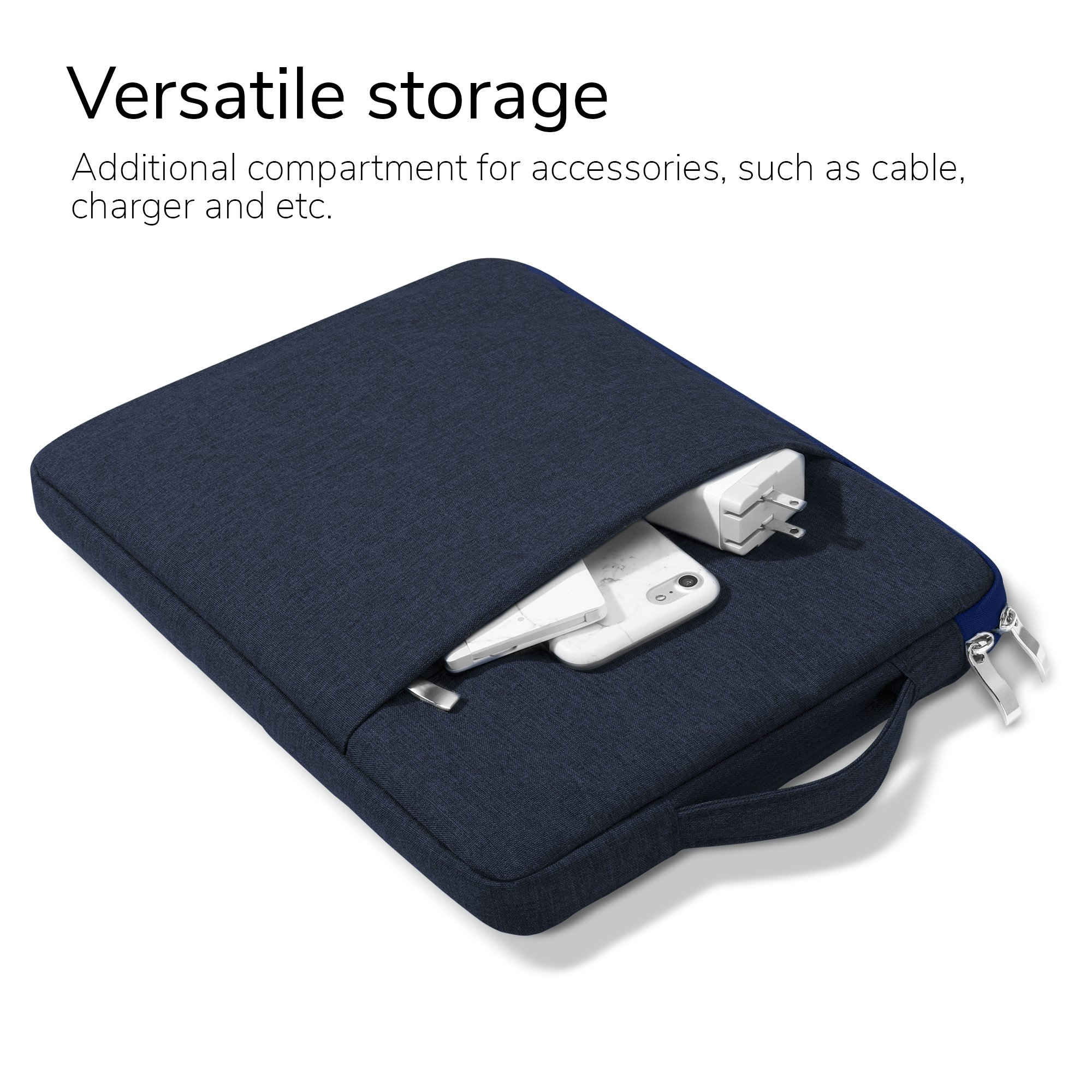 GMYLE MacBook Air 13 Inch Case A1466 A1369 Old Version 2010 2017 and 13 13.3 Inch Handle Carrying Sleeve Bag 2 in 1 Set (Navy Blue)