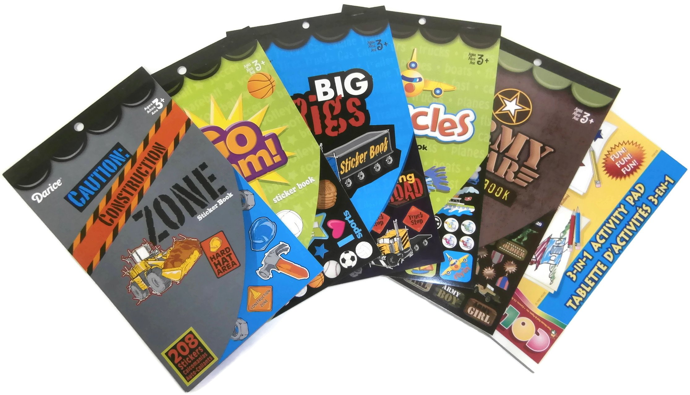 5 Boys Sticker Books With Activity Pad And 1846 Stickers Including Construction Zone, Army, Big Rigs, Vehicles and Sports