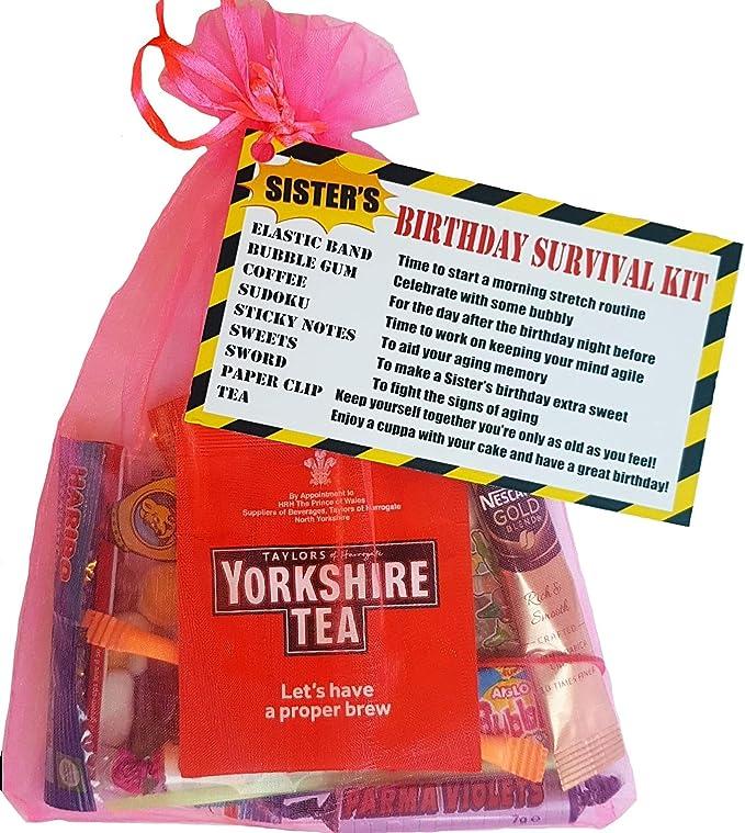 Kit de supervivencia de cumpleaños para hermanas, divertido y humorístico regalo de cumpleaños para hermana. Tarjeta alternativa extra: Amazon.es: Oficina y papelería