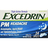 Excedrin PM Sleep Aid with Headache Relief Caplets for Nighttime Headaches and Sleeplessness - 24 Count