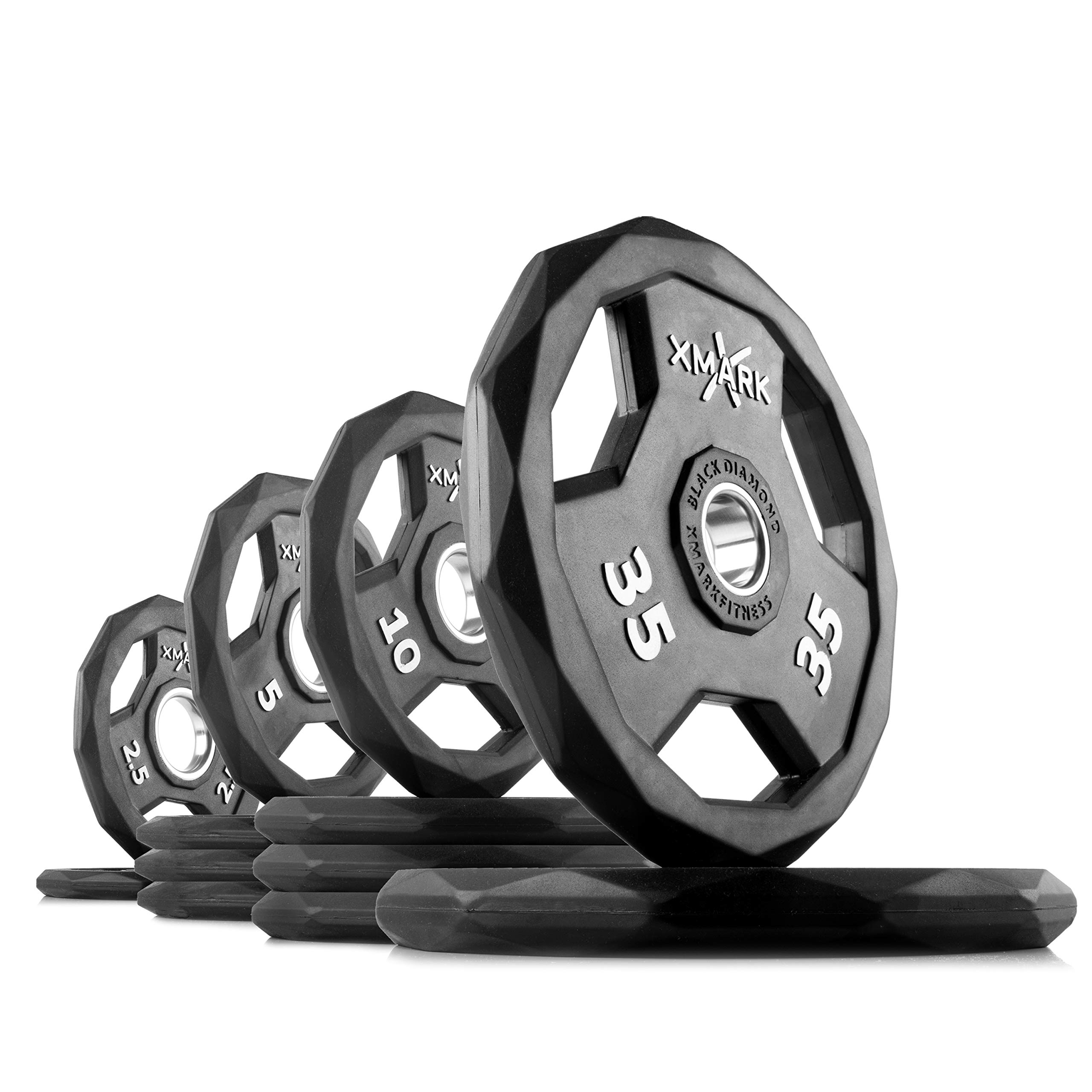 XMark Black Diamond 135 lb Set Olympic Weight Plates, One-Year Warranty, Patented Design