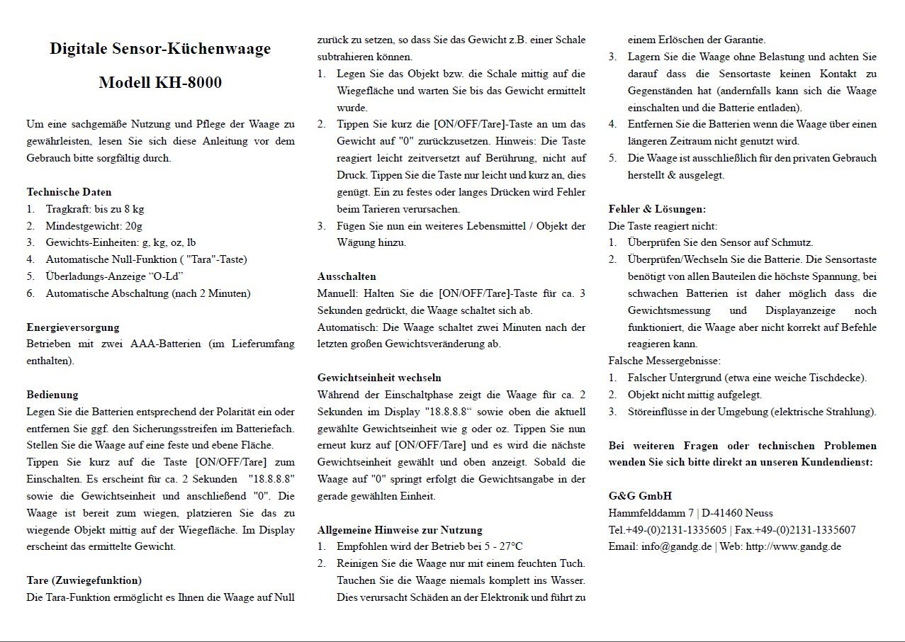G G Kh8000 Grun Aaa Kuchenwaage Amazon De Kuche Haushalt