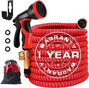 """50ft Expandable Garden Hose, Extra Strength Fabric Leakproof Flexible Water Hose with Multifunctional Sprayer and 3-Layers Latex Core, 2020 Upgraded Expanding Hose with 3/4"""" Solid Brass Fittings"""