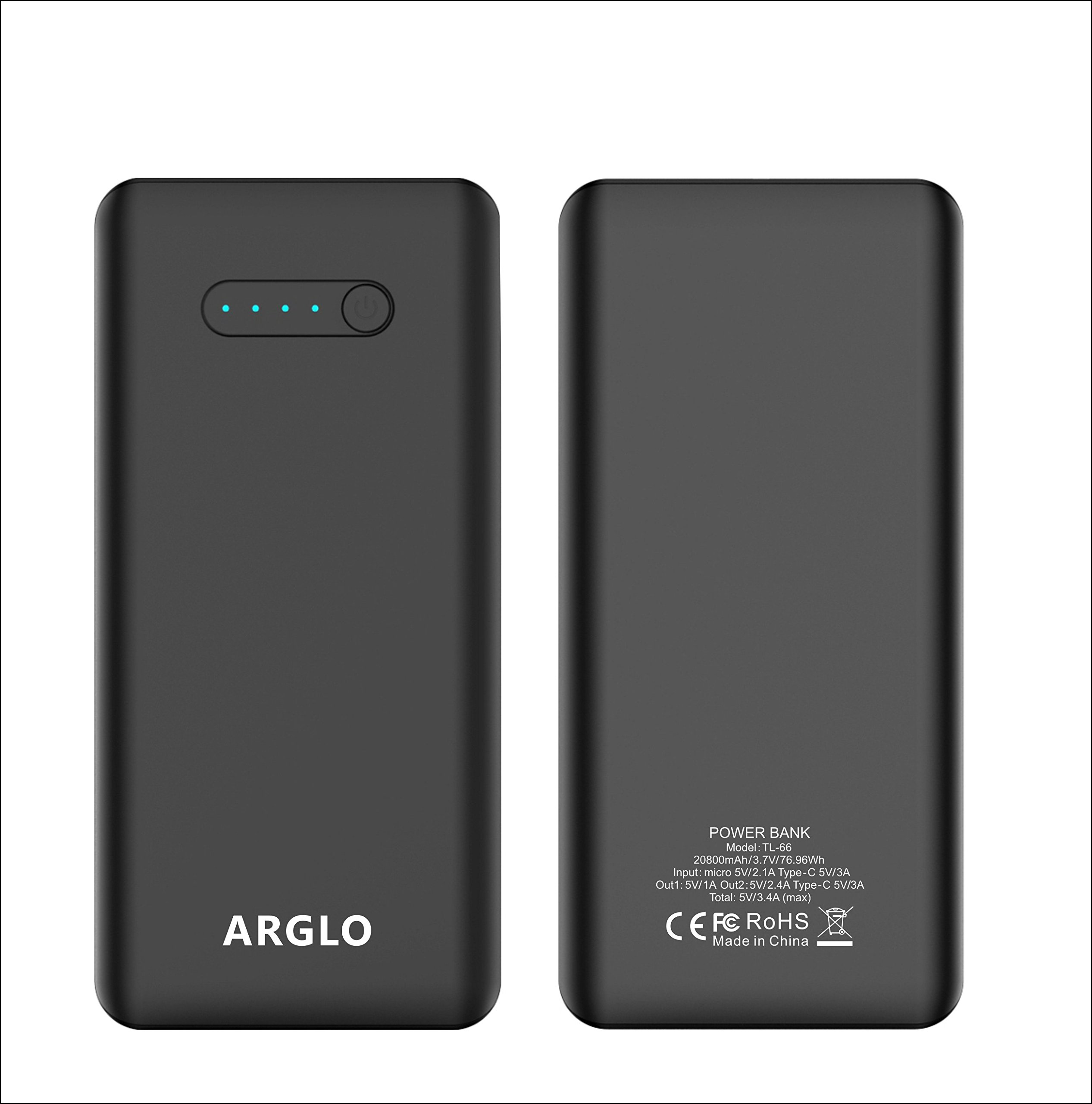 Portable Charger PowerCore 20800mAh - USB-C Premium Power bank by Arglo, Faster, safer charging with our advance technology. Ultra-high capacity for Galaxy S8, Note 8, iPhone and More (black)