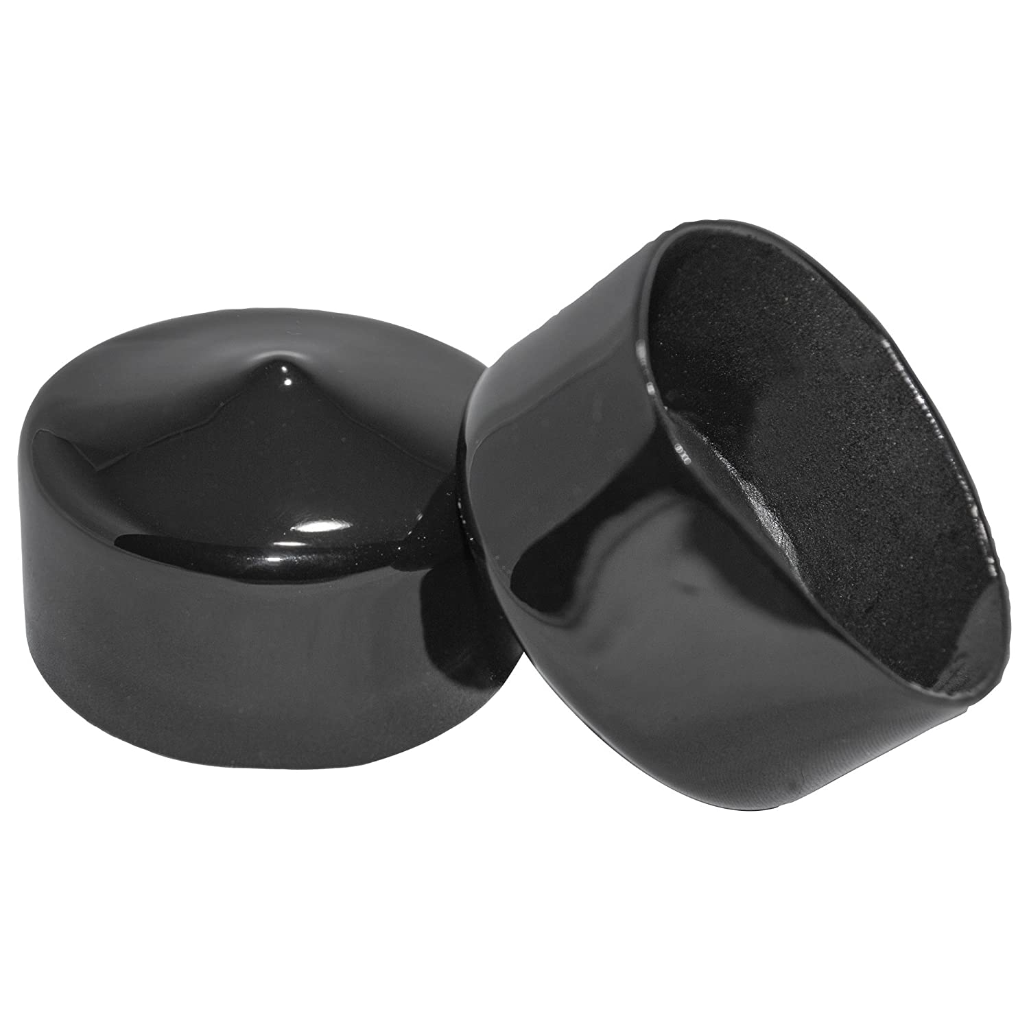Prescott Plastics 2 Inch Round Black Vinyl End Cap, Flexible Pipe Post Rubber Cover (8)