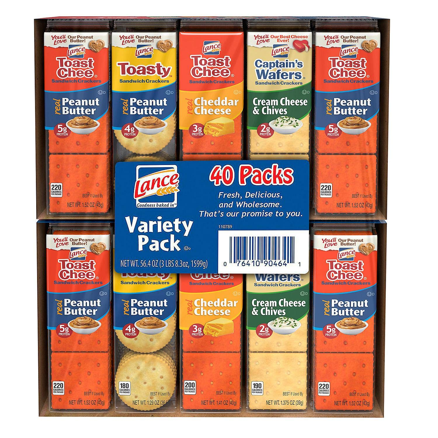 Lance Sandwich Crackers, Variety Pack 1.41 oz, 40 ct. A1 by Store - 383