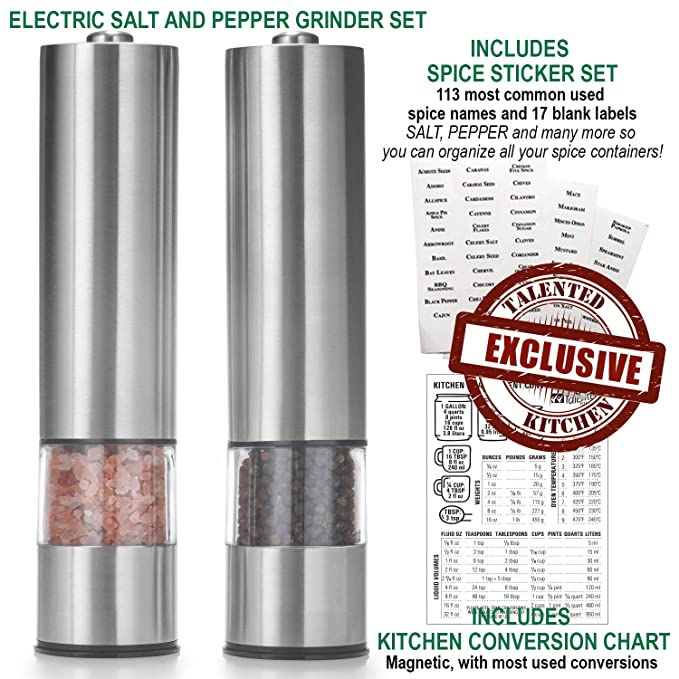 Amazon Set Of 2 Salt Pepper Mill Electric Grinders Measuring