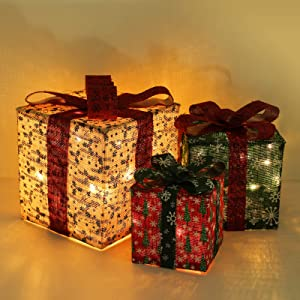 """Lewondr Christmas Lighted Gift Boxes, 10""""/8""""/6"""" 3 Pieces Battery Powered Snowflake Boxes LED Decorative Light for Christmas Yard Home Décor Xmas Tree Ornaments - Colorful"""