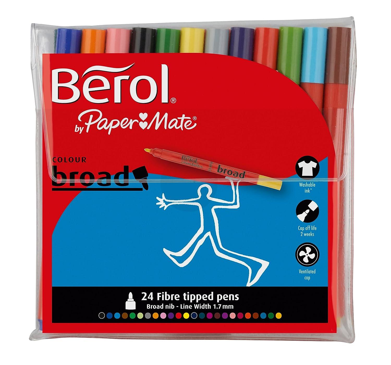 berol colour broad fibre tipped pen assorted colours pack of 24