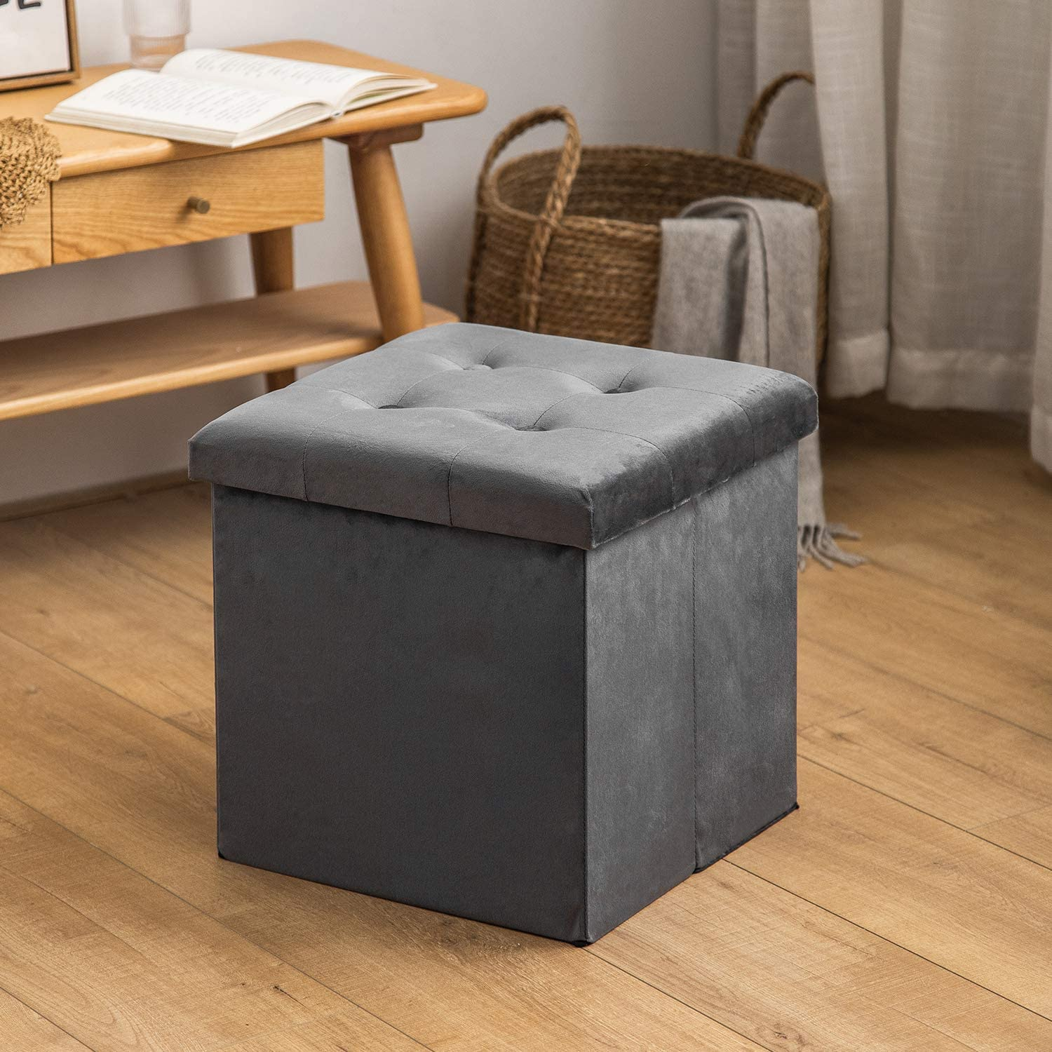 HuiDao Storage Ottoman Bench 15x15x15 Inch Super Thick Folding Storage Ottoman Cube Toy Chest Foot Rest Stool Storage Chair for Living Room Bedroom Office (Faux Suede - Grey)