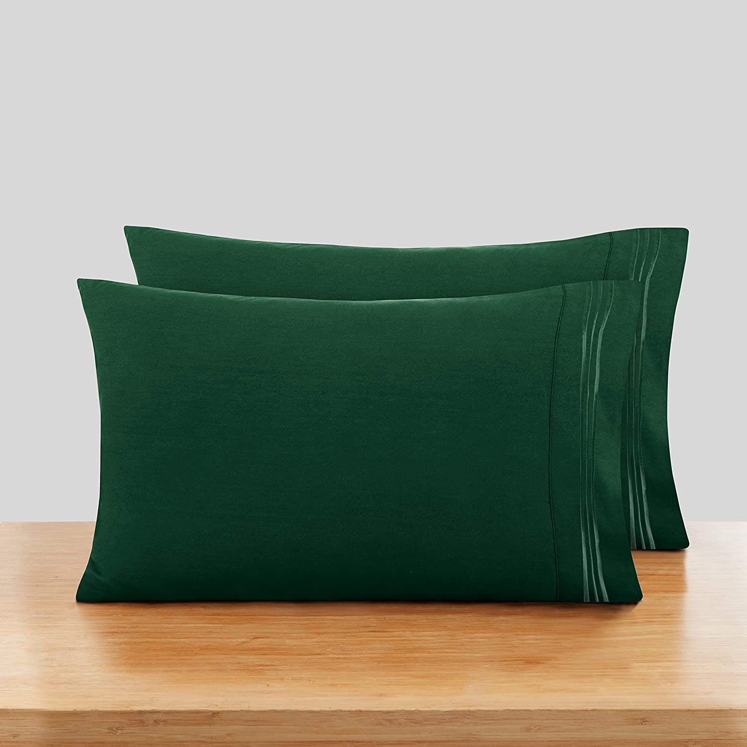 Nestl Bedding Soft Pillow Case Set of 2 - Double Brushed Microfiber Hypoallergenic Pillow Covers - 1800 Series Premium Bed Pillow Cases, Standard/Queen - Hunter Green
