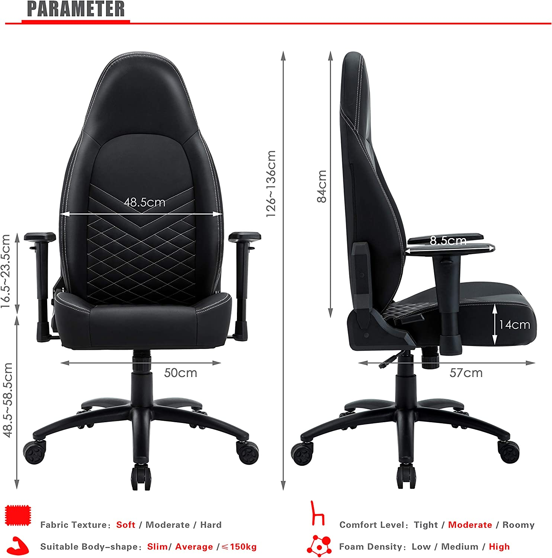 B/ürostuhl aus Kunstleder 150 kg Belastbarkeit Grau Verstellbarer professioneller PC Racing Stuhl Gaming Stuhl