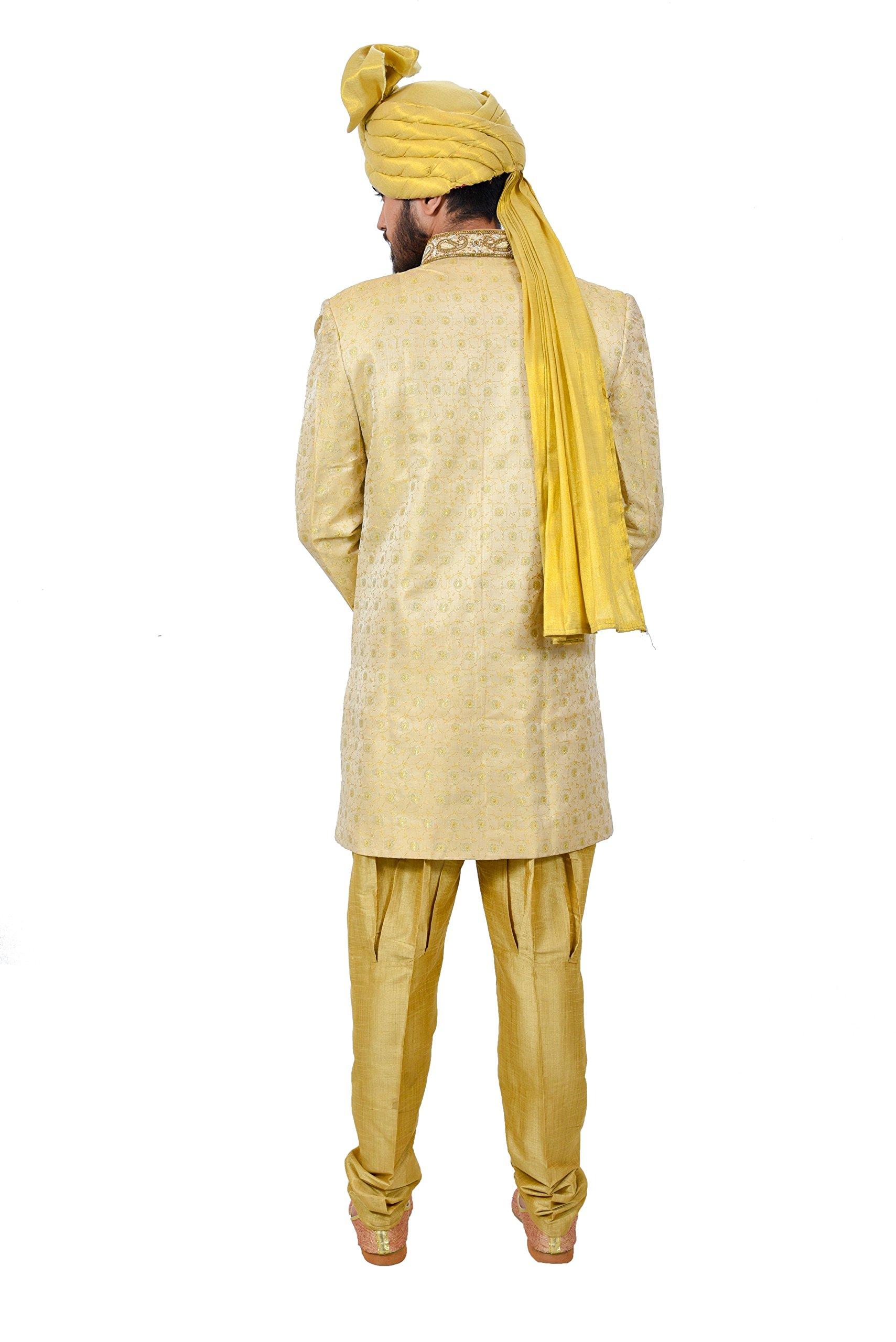 Golden Zari Brocade Silk Traditional Indian Wedding Indo-Western Sherwani for Men by Saris and Things (Image #5)