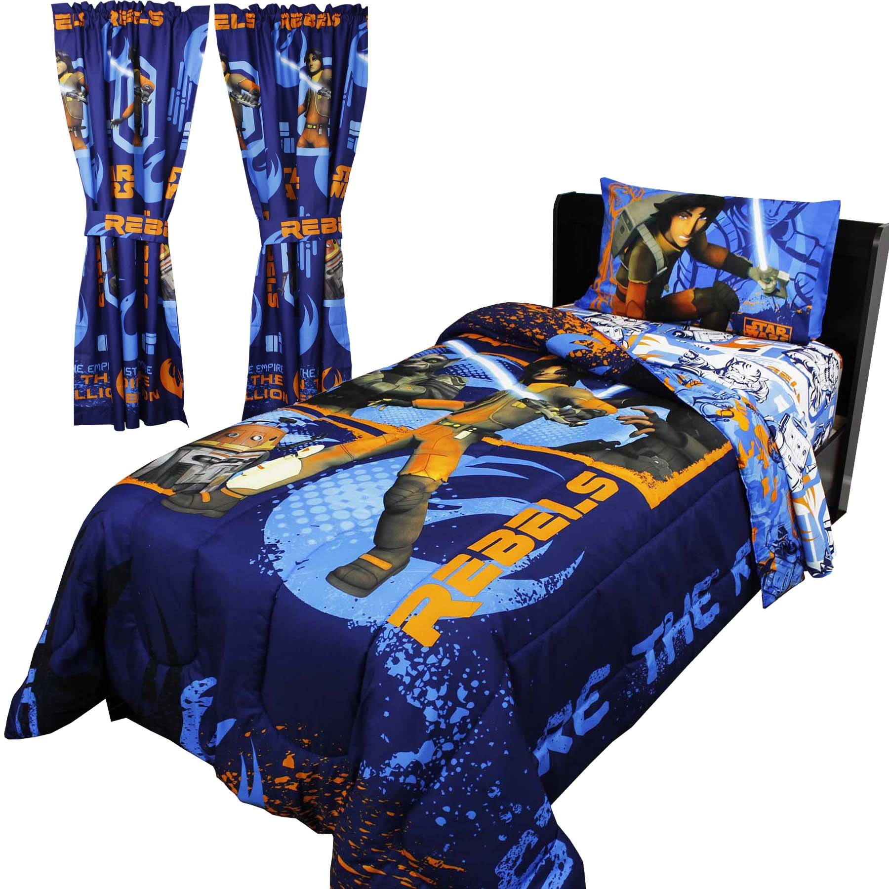 8pc Star Wars Twin Bedroom Set Rebels Fight Comforter Sheets and Window Panels with Tie-Backs by Disney (Image #1)