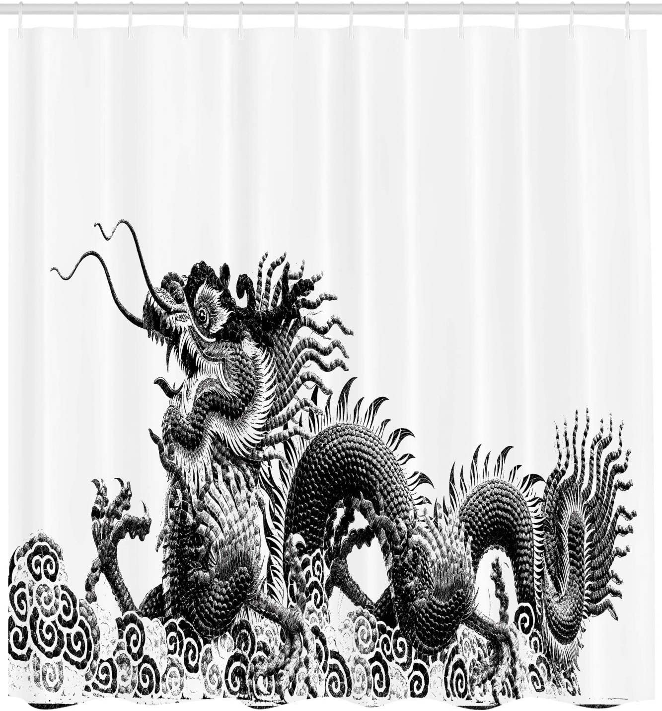 Black White Traditional Chinese Dragon Symbolize Strength and Good Luck Powers Fantasy Graphic Work Polyester Fabric Bathroom Shower Curtain Set with Hooks Ambesonne Dragon Decor Collection
