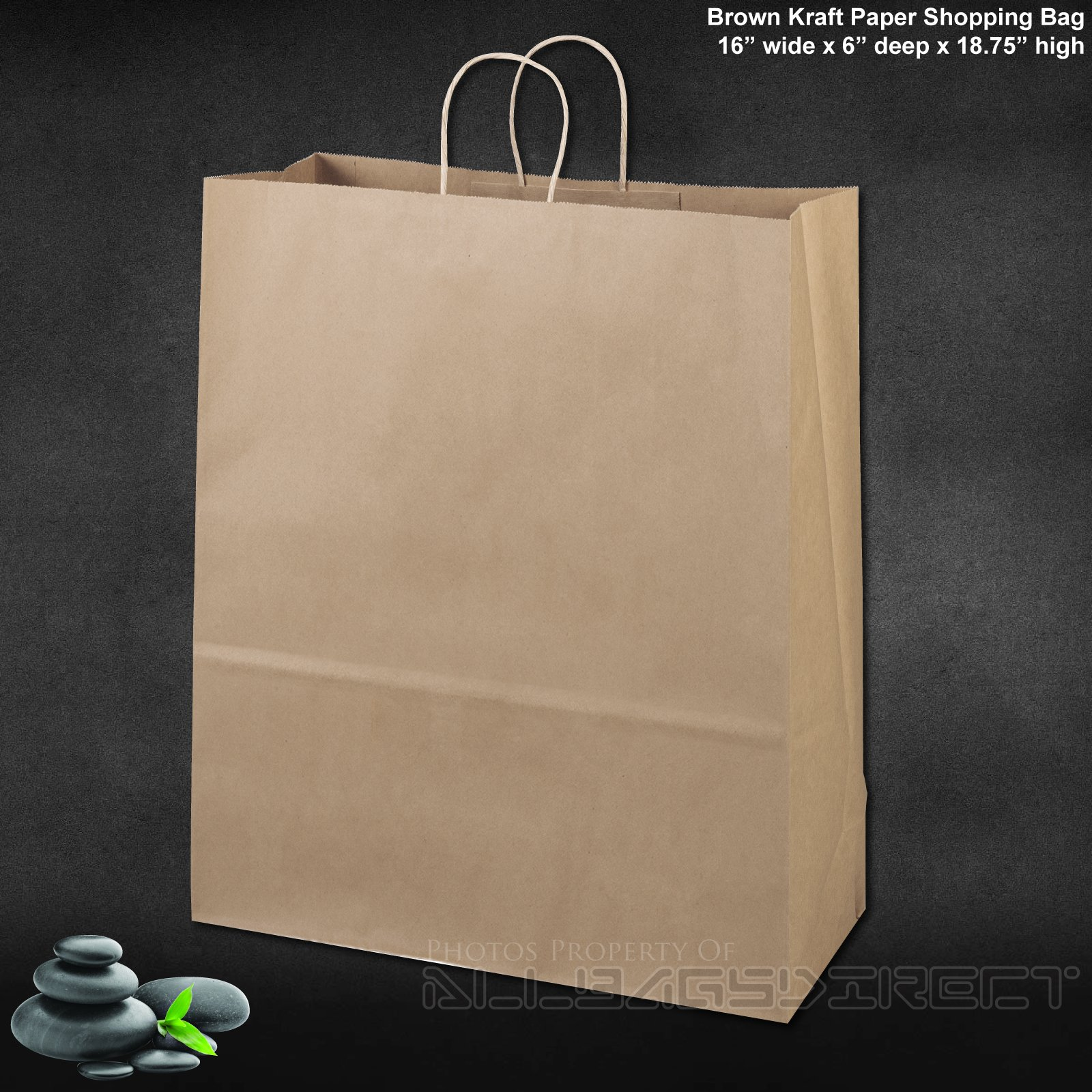 Flexicore Packaging 16''x6''x19'' - 100 Pcs - Brown Kraft Paper Bags 95% Post Consumer Materials & FSC Certified