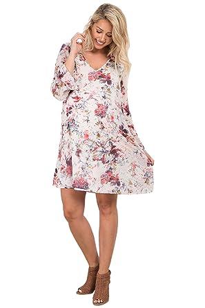 8d750e5bc23ea PinkBlush Maternity Ivory Floral Printed V-Neck Chiffon Maternity Dress,  Large