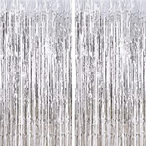 CHRORINE 2pcs 3ft x 8.3ft Silver Tinsel Foil Fringe Curtains Streamers Backdrop for Birthday Graduation Wedding Engagement Bridal Shower Bachelorette Holiday Gold Party Decorations (Silver)