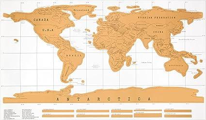 Mapa Mundi multicolor para rascar y recordar tus viajes. Mapamundi para rascar 88 x 52 cm.: Amazon.es: Oficina y papelería