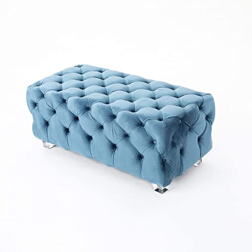 Christopher Knight Home Lazio Tufted Velvet Ottoman Aqua ,