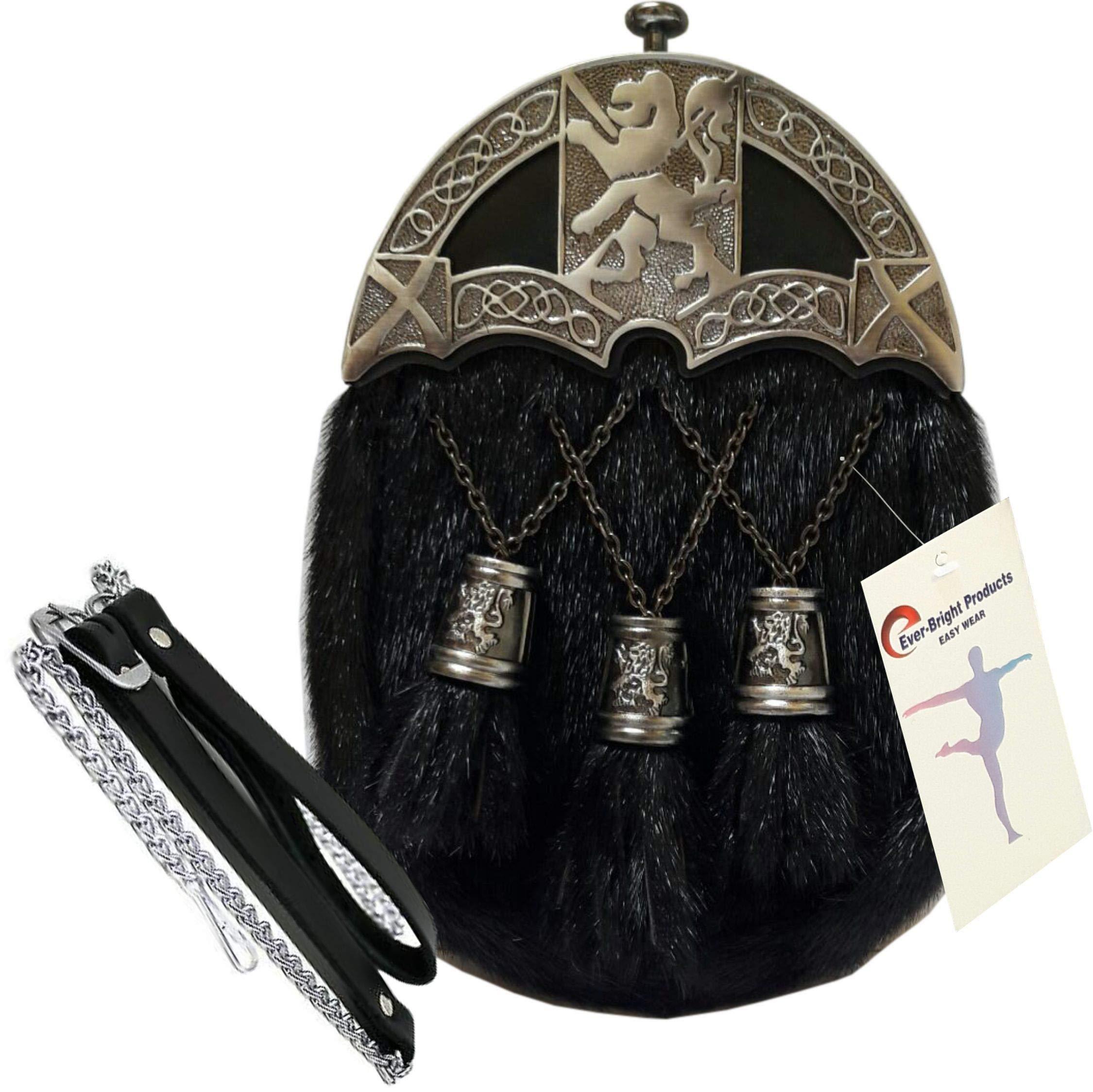 Scottish Kilt Original seal Skin Full Dress Sporran Enamel Lion Cantle (Free Belt Included)