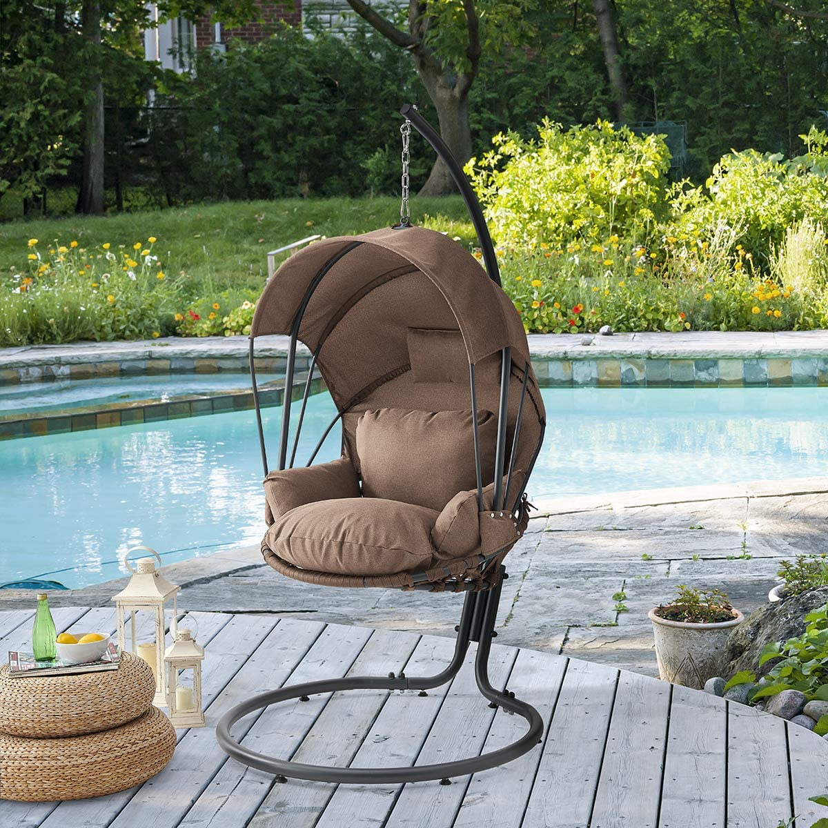 Barton Hanging Egg Chair Swing Chair Cushions with Stand Balcony Pad Garden Porch Lounge Egg Chair with Canopy Sun Shade Cover, Beige