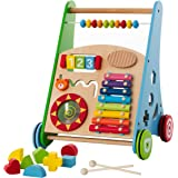 Baby Toys – Kids' Activity Toy – Wooden Push and Pull Learning Walker for Boys and Girls – Multiple Activities Center…