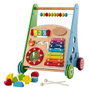 Baby Toys – Kids' Activity Toy – Wooden Push and Pull Learning Walker for Boys and Girls – Multiple Activities Center – Assembly Required – Develops Motor Skills & Stimulates Creativity