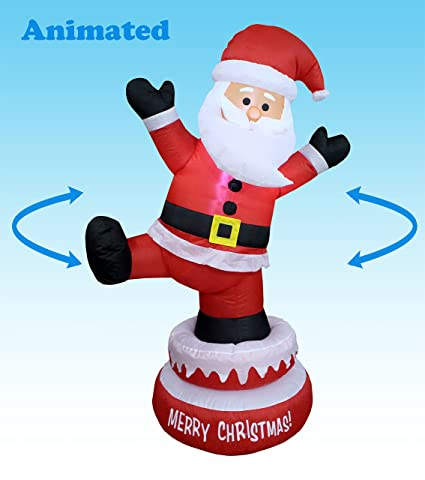 5 foot tall lighted animated christmas inflatable santa claus outdoor indoor yard decoration - Animated Christmas Decorations Indoor