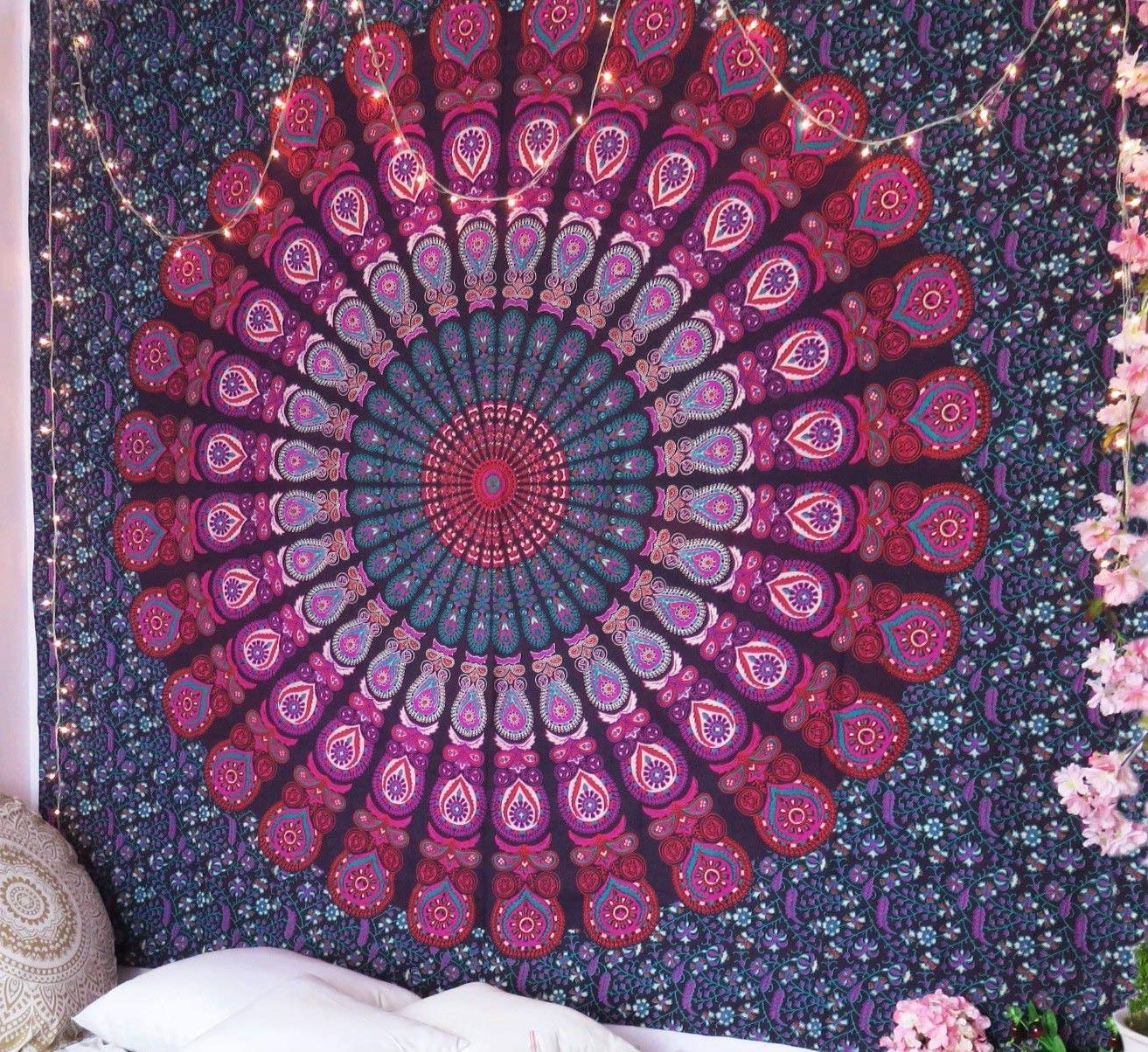 Multi Color Peacock Mandala Tapestry Wall Hanging Bedspread Twin Tapestry Decor