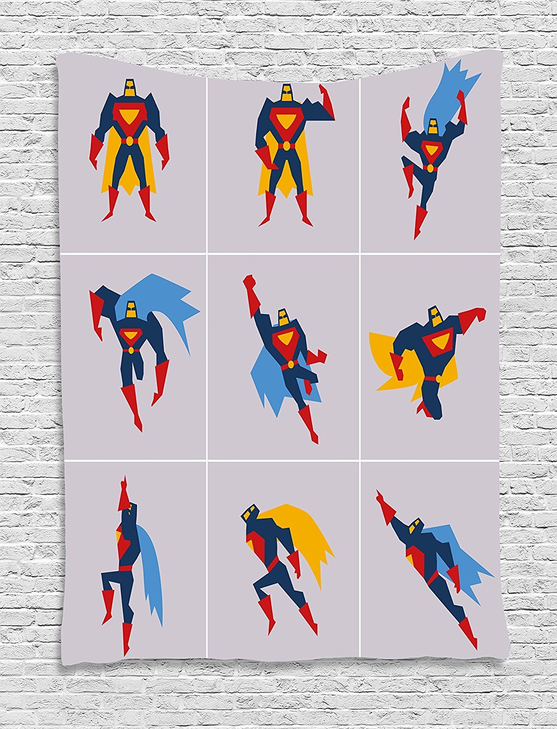 Superhero Tapestry, Superhero in Action Posing Muscles Savior Kicking Defender Design, Wall Hanging for Bedroom Living Room Dorm, 60 W X 80 L Inches, Night Blue Purple Grey Red