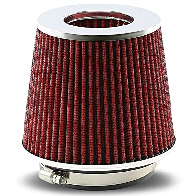 """Universal Clamp-On Cotton Gauze Round Air Intake Filter+Reducer Hose for 3-4"""" Inlet (Red)"""