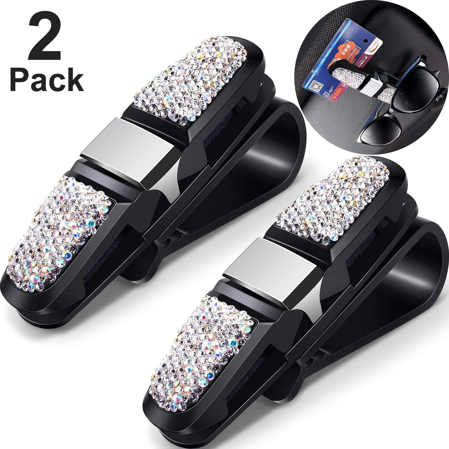 Frienda 2 Packs Glasses Holders for Car Sun Visor Bling Crystal Rhinestones Car Sun Visor Glasses Sunglasses Eyeglasses