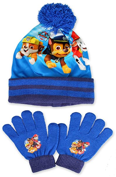 New Boys PAW Patrol Knit Hat Scarf and Gloves Set Beanie Cap One Size Blue
