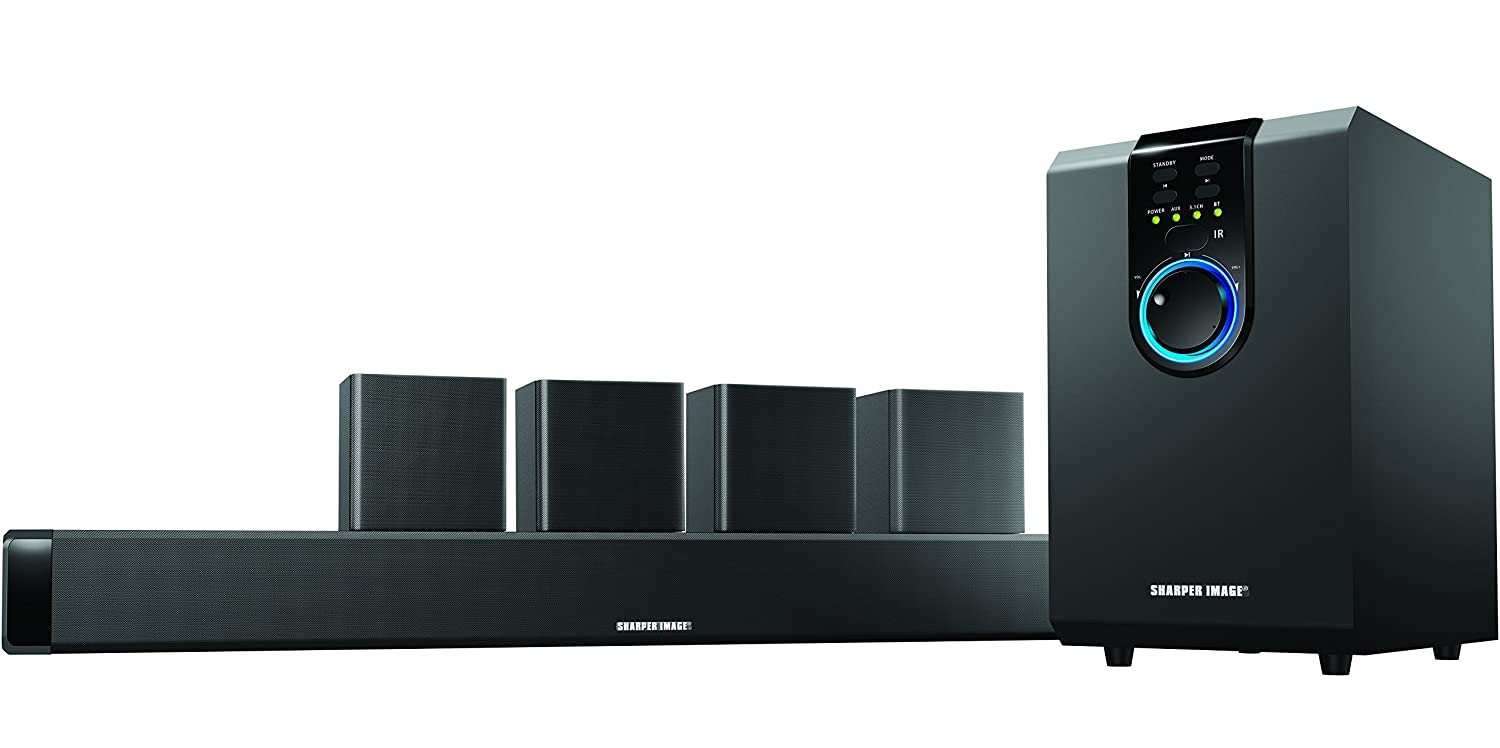 sharper image 5 1 home theater sound system with bluetooth subwoofer sound bar ebay. Black Bedroom Furniture Sets. Home Design Ideas