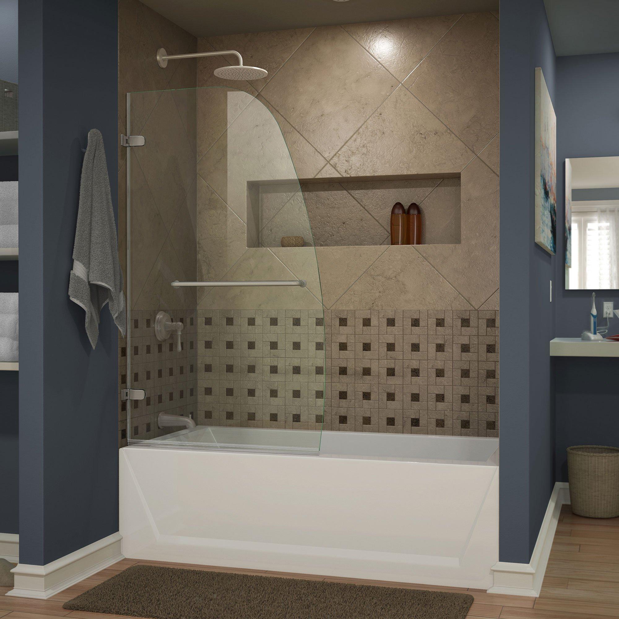 DreamLine Aqua Uno 34 in. Width, Frameless Hinged Tub Door, 1/4'' Glass, Brushed Nickel Finish