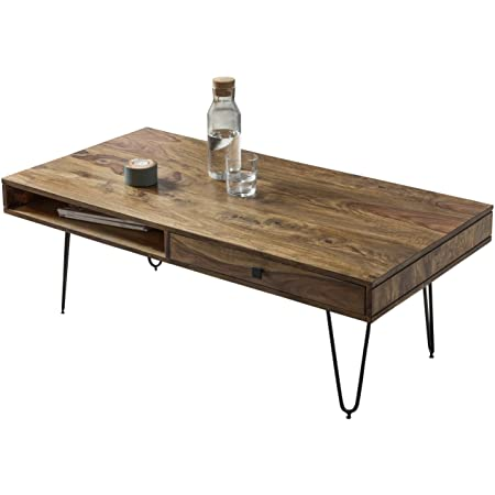 WOHNLING coffee table solid wood Sheesham 120cm wide living room ...