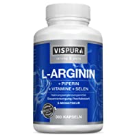 L-Arginine Capsules HIGH STRENGTH 360 capsules with VITALITY formula B6, B12, folic acid, selenium and piperine for 3 months, Premium quality product and 30 days free return