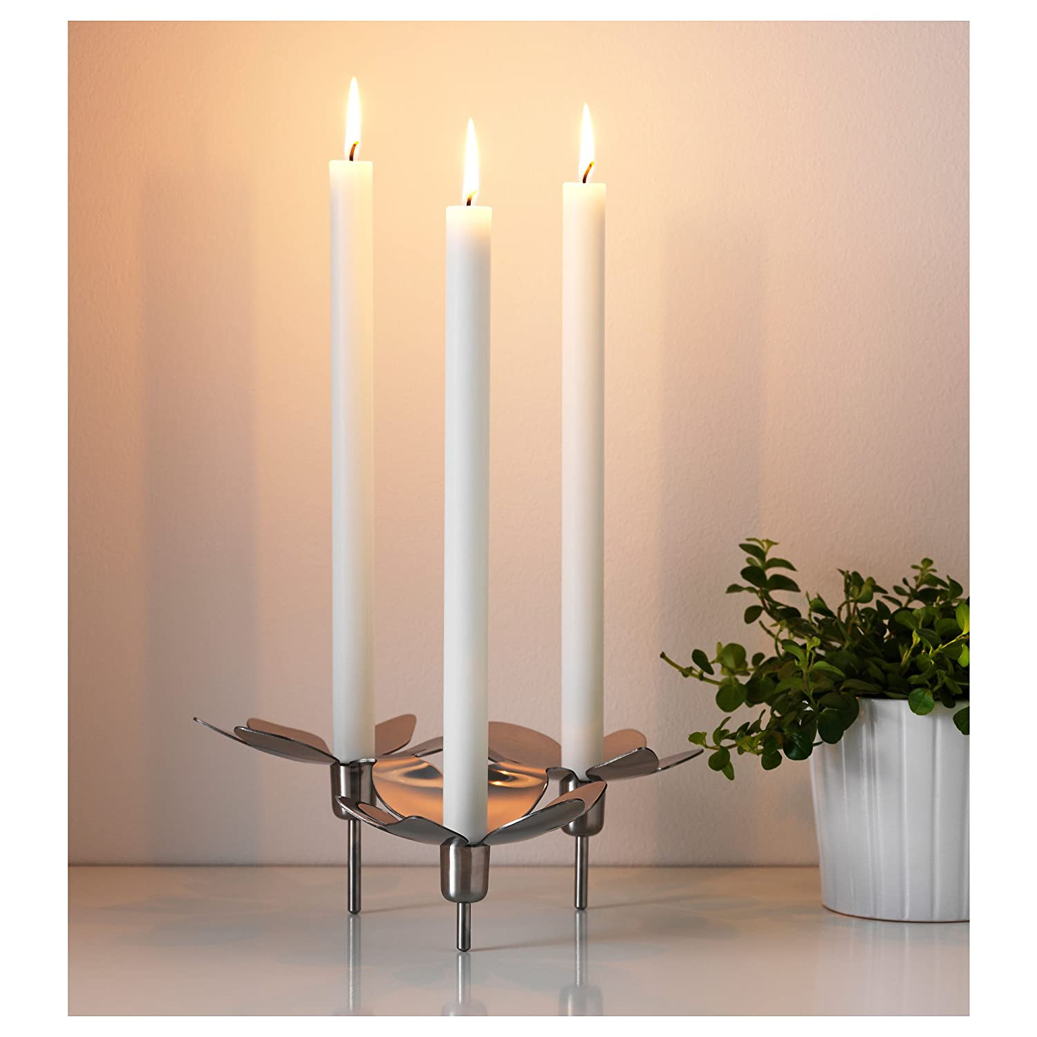 Collectibles Ikea Stockholm Candlestick For 3 Candles Stainless Steel Free Shipping