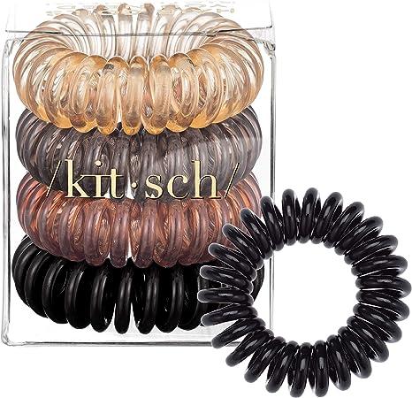 Phone Cord Transparent 4pcs Coil Kitsch Spiral Hair Ties Coils