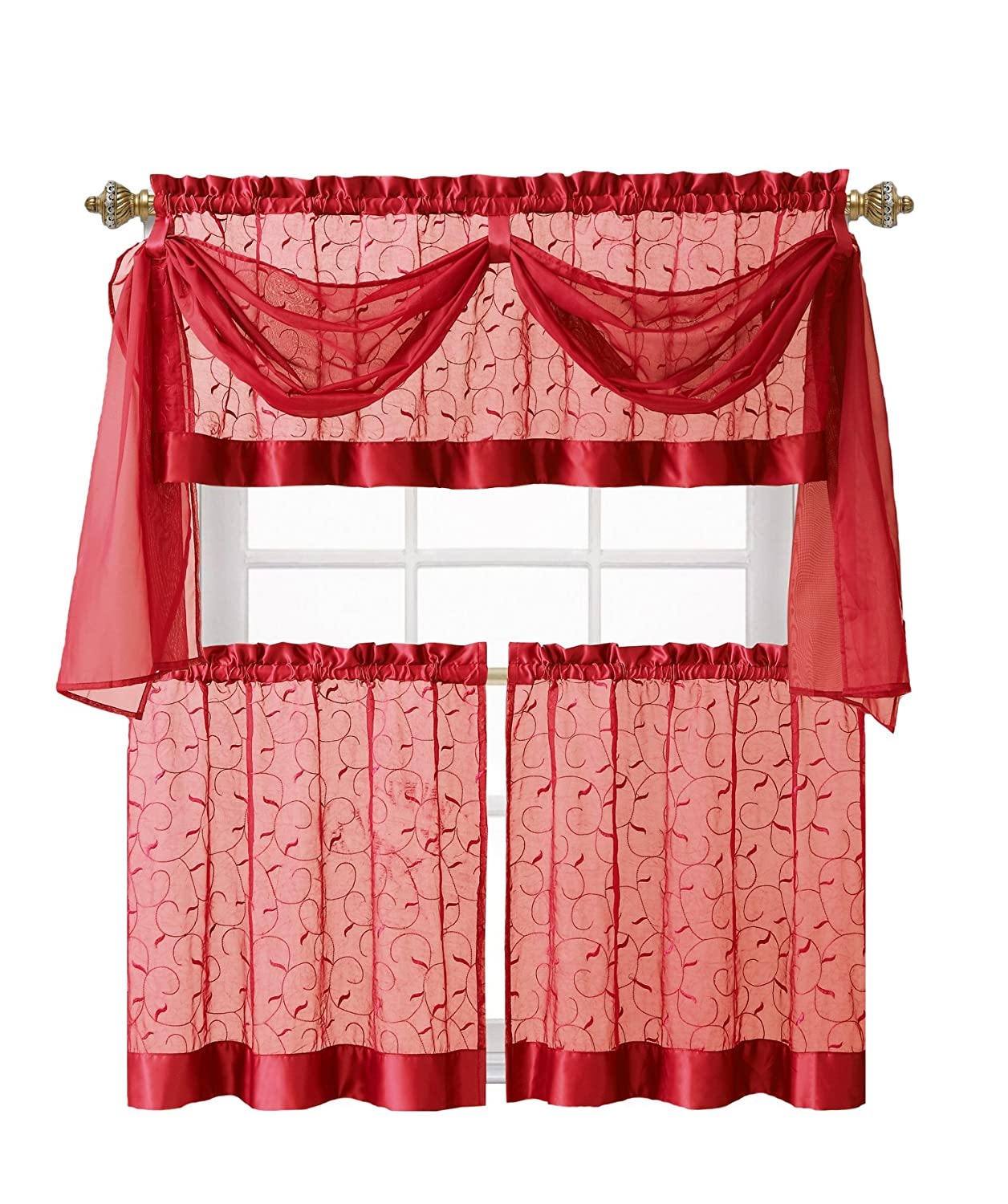Luxurious Embroidered Sheer Voile Kitchen Curtain Set