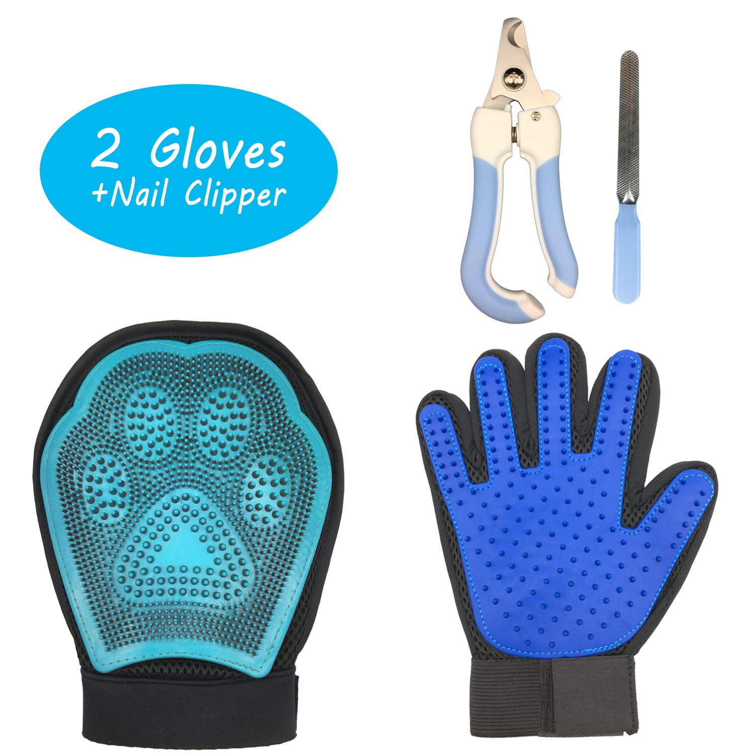 Pet Grooming Gloves Pet Massage Glove and Pet Nail Clippers Set for Dogs Cats Horses Pet Hair Remover Mitt Shedding Gloves Dog Grooming Kit (3-in-1)
