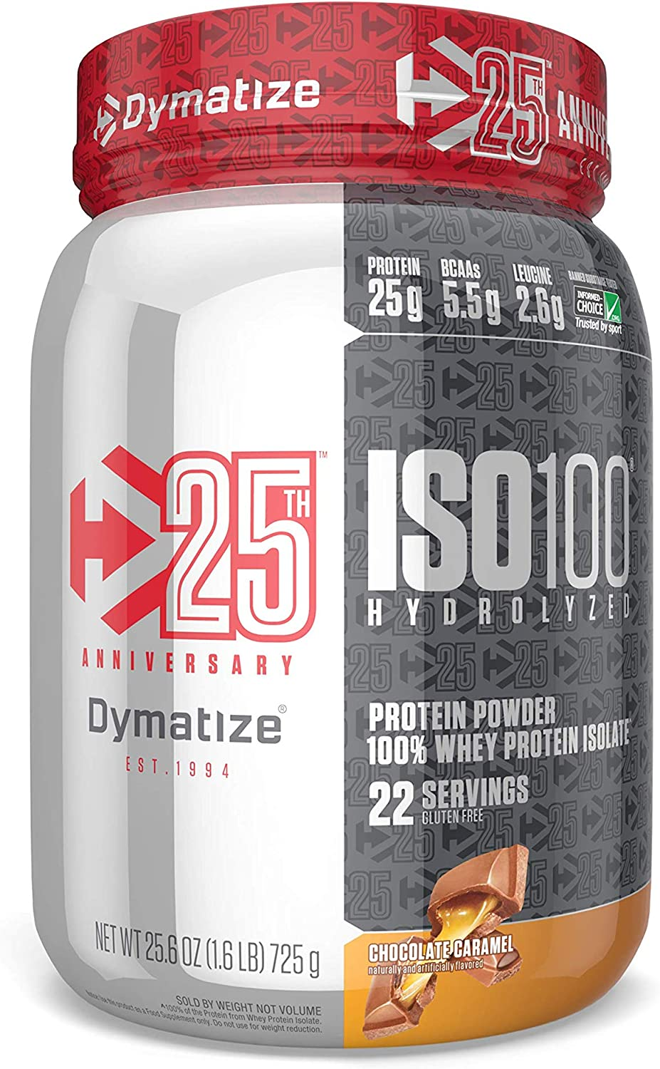 Limited Time Offer Dymatize Iso 100 Whey Protein Powder with 25g of Hydrolyzed 100 Whey Isolate, Gluten Free, Fast Digesting, Chocolate Caramel, 1.6 Lb