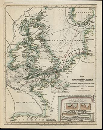 Map Of Germany North Sea.German Or North Sea C 1850 Old German Scientific Map At Amazon S